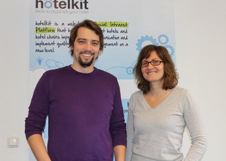 Seit 2012 im Techno-Z Salzburg: Marius Donhauser und Mitarbeiterin Gera Bachner.