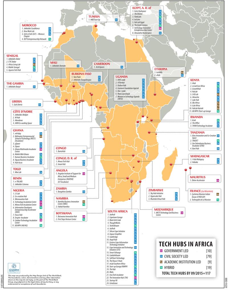 Die Weltbank hat im September 2015 exakt 121 Tech Hubs und Coworking Spaces in Afrika erfasst.