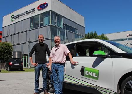 Probefahrt am 22. Juni: Peter Berger, Electrodrive Salzburg und Ferenc Schmalzl, Techno-Z