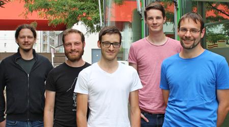 Wolfgang Vogel, Salzburger runtastics v.l.: Andreas Günther, Erik Knauf, Dominik Goltermann, Martin Führlinger vor ihrem Büro im Techno 10.