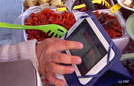 Marktfahrer mit shoperate-Registrierkasse auf iPad